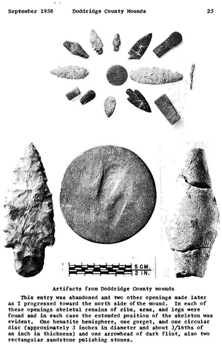 Artifacts from Doddridge County Mounds in Sutton Report