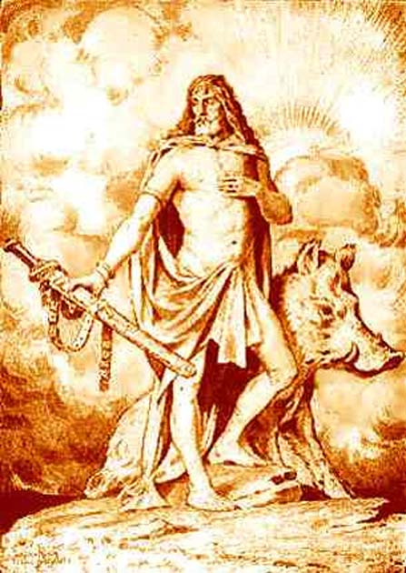 Artwork by Jacques Reich showing the Norse god Freyr and his boar Gullinbursti.