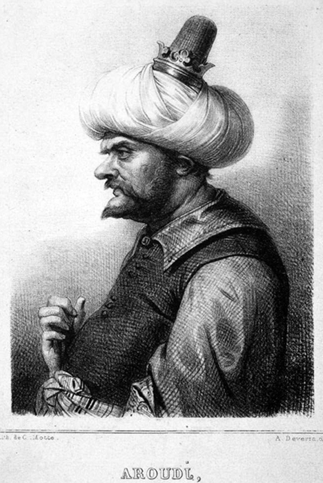 A lithograph of Aruj Barbarossa