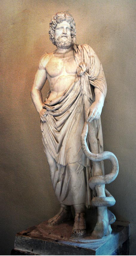 Asclepius with his serpent-entwined staff, Archaeological Museum of Epidaurus