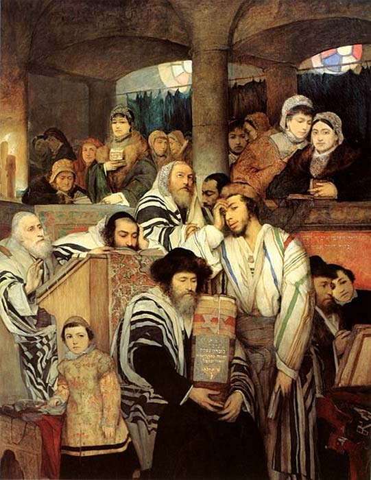 Ashkenazi Jews praying in the Synagogue on Yom Kippur. (1878 painting by Maurycy Gottlieb). (Public Domain)