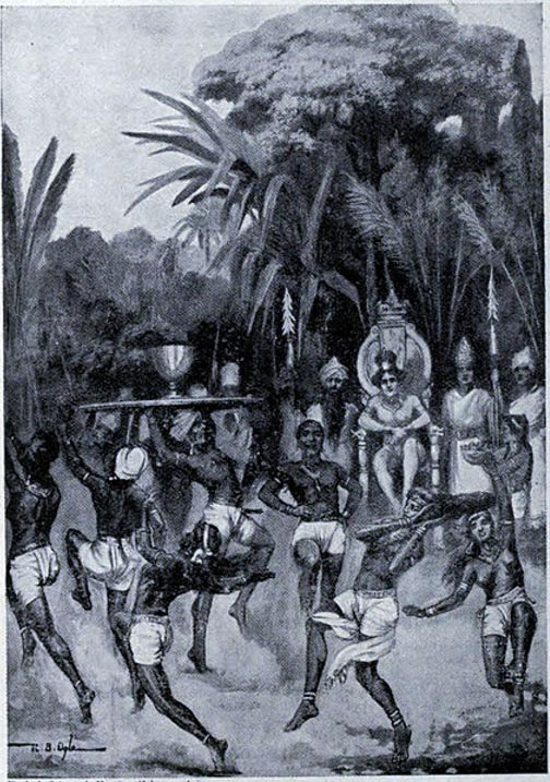 Ashoka's envoy declares peace. Illustration from Hutchinson's Story of the Nations.