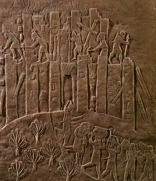 Ashurbanipal's campaign against nearby Susa is triumphantly recorded in this relief showing the sack of Susa in 647 BC. Here, flames rise from the city as Assyrian soldiers topple it with pickaxes and crowbars and carry off the spoils. Representational image.