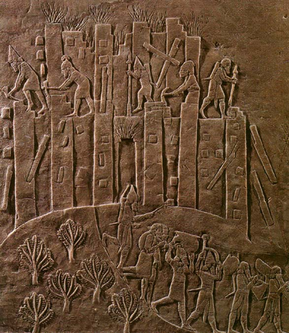 Ashurbanipal's brutal campaign against Elam in 647 BC is recorded in this relief.