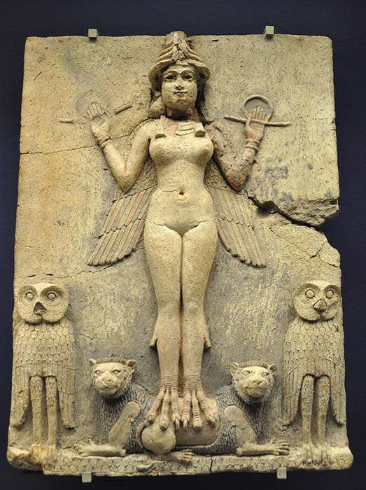 This relief shows an Assyrian goddess, possibly Ishtar or her sister Ereshkigal.