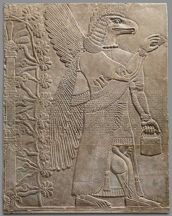 Assyrian relief carving from Nimrud, 883–859 BC, depicting a so-called handbag. ( Metropolitan Museum of Art )