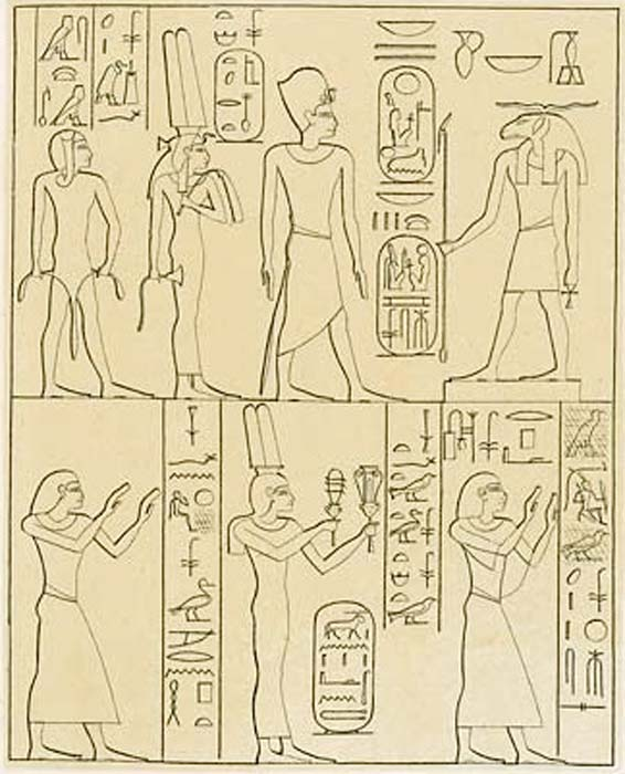 Aswan Rock stela with Three Sons; Upper Register: King, Isetnofret and Khaemwaset before Khnum. Lower register: Princes Ramesses, Merneptah and Princess Queen Bint-Anath.
