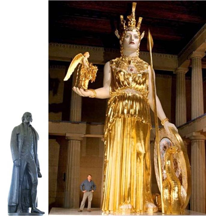 Bronze statue of Thomas Jefferson from his memorial in Washington, DC compared with Athena's imitation gold and ivory idol-image in Nashville, Tennessee, with the man responsible for the reconstruction, Alan LeQuire, standing next to her.