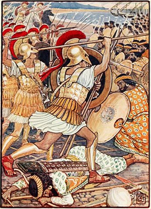 The Athenian warriors crash into the Persian army.