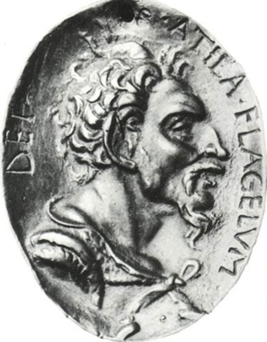 Attila the Hun. Bronze medal after an antique original (Louvre Museum).