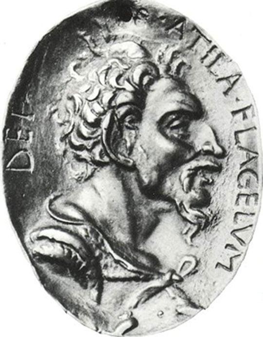Attila the Hun. Bronze medal after an antique original (Louvre Museum).