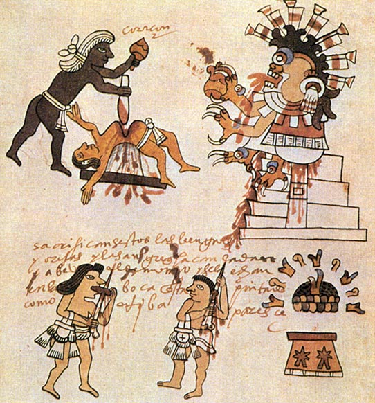 Aztec human sacrifice as depicted in the Codex Tudela.