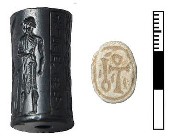 Babylonian seal (ca 1800 BC) with cuneiform writing and scarab from Egypt