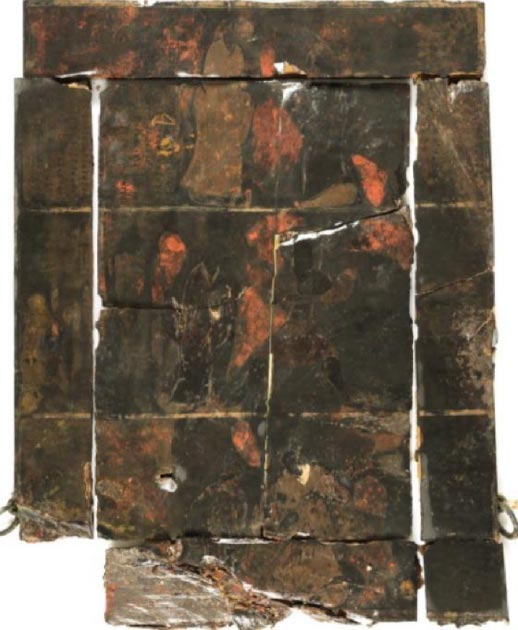Back side of the Confucius Dressing Mirror. Earliest surviving portrait of Confucius (top left). First Century, B.C. Tomb of the Marquis of Haihun, Jiangxi Province. (Ziliang Liu)