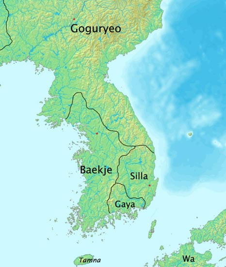 The Baekje kingdom at its height in 375 AD