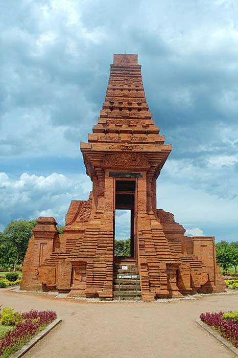 Bajang Ratu Gate, Trowulan archaeological site, East Java. The tall red bricks temple is dated from Majapahit period circa 13th to 15th century