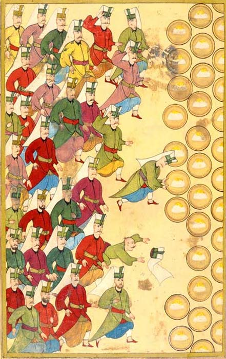 """Banquet (Safranpilav) for the Janissaries, given by the Sultan. If they refused the meal, they signaled their disapproval of the Sultan. In this case they accept the meal."""
