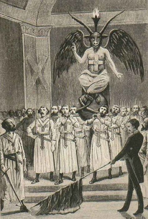 Baphomet at a Freemason session. Picture from a book by Leo Taxil. (Public Domain)