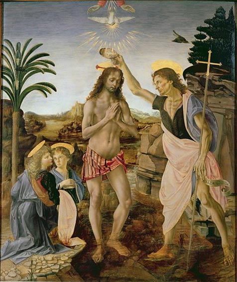 The Baptism of Christ. (1475) By Leonardo da Vinci and Andrea del Verrocchio. Uffizi Gallery.