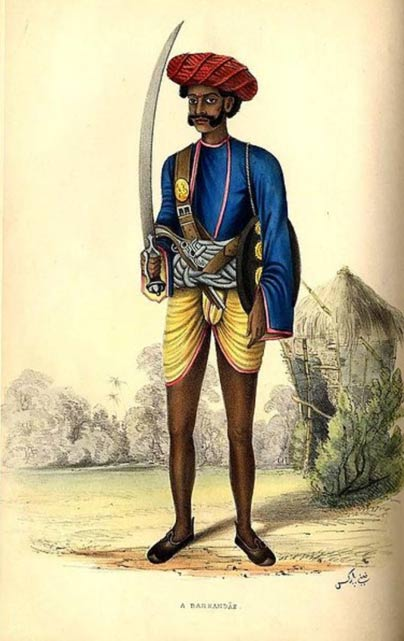 A 19th century Barkandaz (guard) in India with sword by Fanny Parkes Parlby, 1850