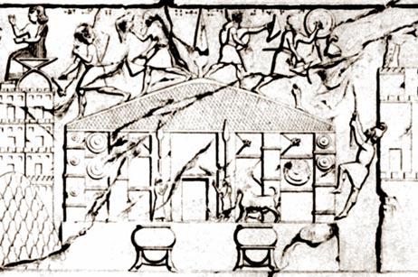 Bajorrelieve del templo Musasir en el lugar de rey Sargon II en Khorsapat