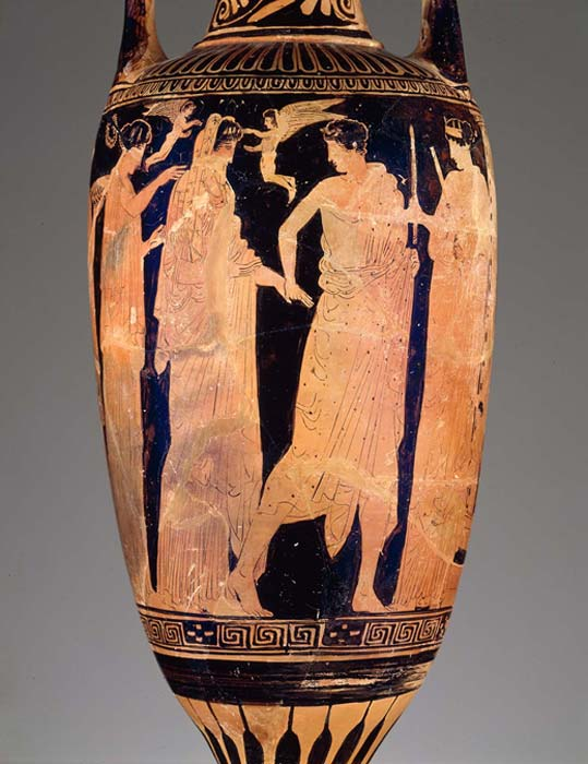 Bathing vessel (loutrophoros) depicting a bridal procession