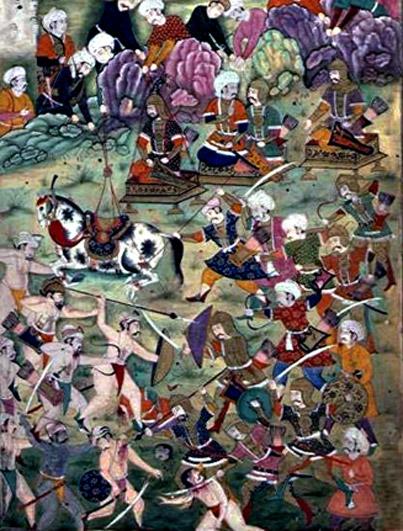 Battle of Ankara. Mughal painting.