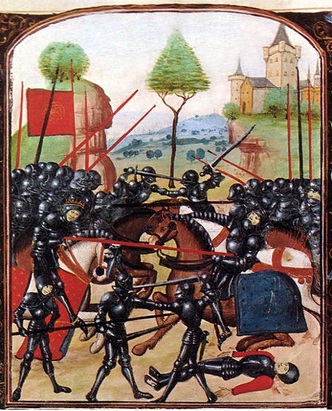 War of the Roses. Illustration of the Battle of Barnet (14 April 1471) on the Ghent manuscript, a late 15th-century document