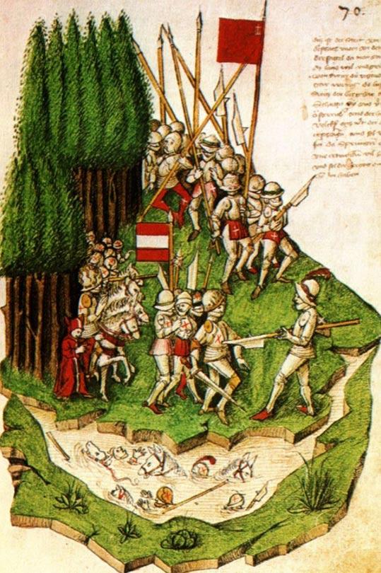 The Battle of Morgarten, painting by Benedicht Tschachtlan
