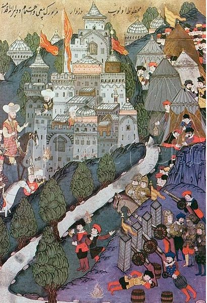 The Battle of Nicopolis in 1396 depicted in an Ottoman miniature.