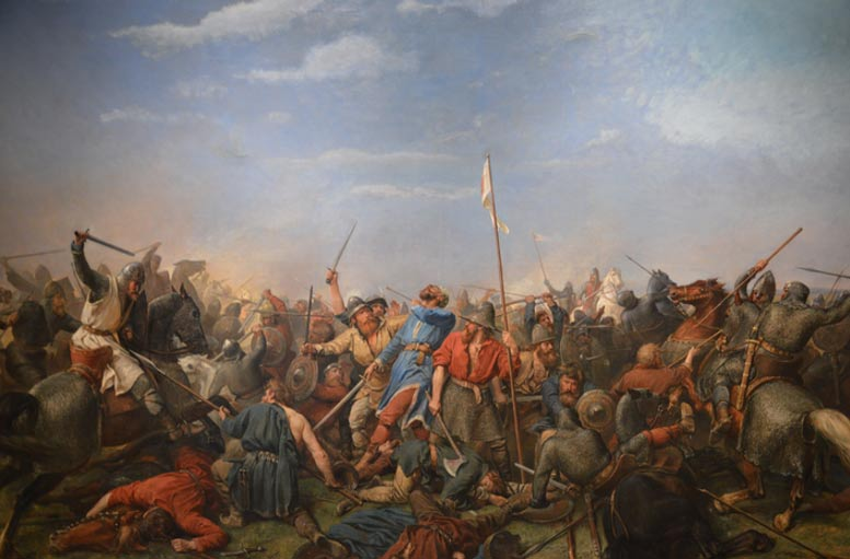 Painting of the Battle of Stamford Bridge by Peter Nicolai Arbo, depicting King Harald Hardrada hit in the neck by an arrow (Wikimedia Commons)