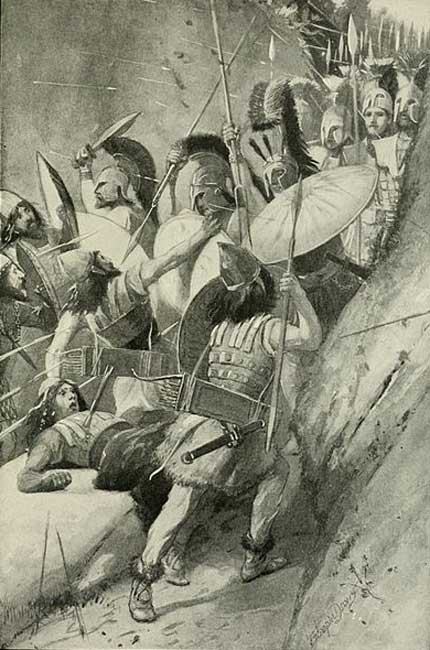 Artistic representation of the Battle of Thermopylae.