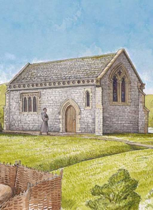 An illustration of Beckery Chapel