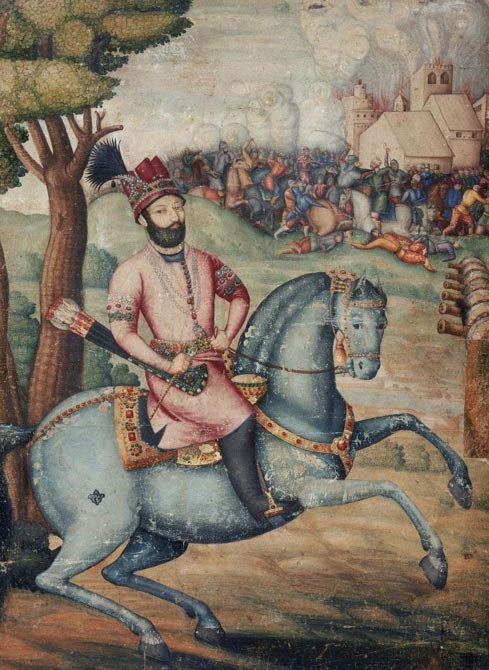 Bejeweled Nader Shah on horseback in the aftermath of his decisive victory at the Battle of Karnal