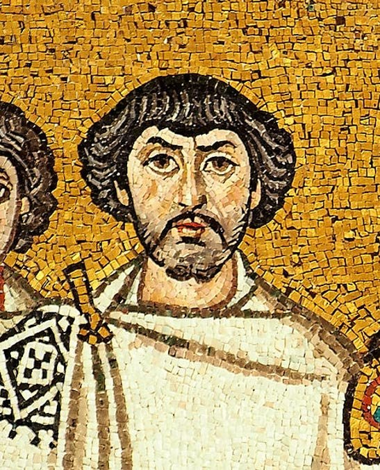 A man believed to be Belisarius depicted in a mosaic beside Justinian, Basilica of San Vitale, Ravenna, Italy