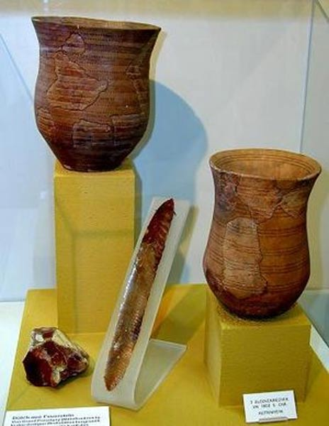 The distinctive Bell Beaker pottery drinking vessels shaped like an inverted bell (