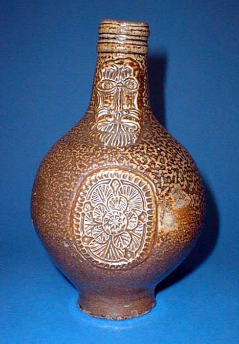 A Bellarmine jug, a type of vessel commonly used to make witch bottles.