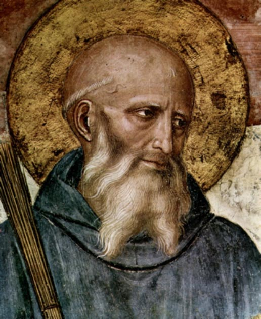 Saint Benedict of Nursia (c. 480–543), founder of the Benedictines. Detail from a fresco by Fra Angelico (c. 1400–1455) in the Friary of San Marco Florence. (Eloquence / Public Domain)