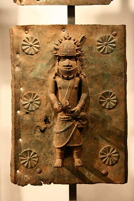 A Benin Bronze plaque on display in the British Museum.