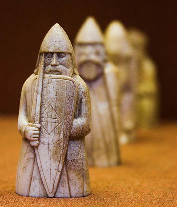 Berserker, Lewis Chessmen, British Museum.