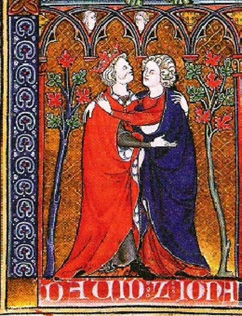 Biblical Prince Jonathan and David embrace. Manuscript illustration of La Somme le roy, ca. 1300 AD.