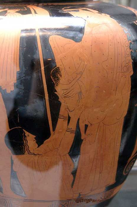 Birth of Erichthonius: Athena receives the baby Erichthonius from the hands of the earth mother Gaia. Hephaestus is watching the scene. Side A of an Attic red-figure stamnos, 470–460 BC. (Public Domain)
