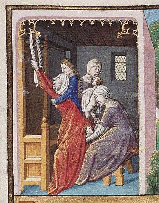 Birth of Esau and Jacob as an example of twin's fate against the arguments of astrology, by François Maitre, circa 1475-1480. (Public Domain)
