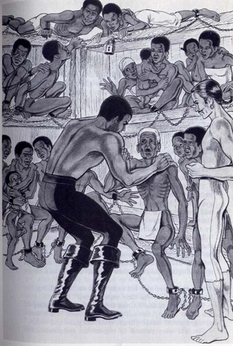 Black Caesar and his men are captured by slave traders. (Noah Scalin / CC BY-SA 2.0)