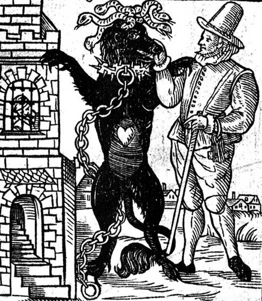 Drawing of the Black Dog of Newgate, from the book 'The Discovery of a London Monster Called the Black Dog of Newgate,' published in 1638.