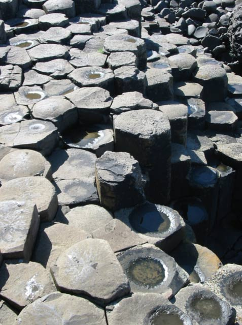 Black basalt columns of the Giant's Causeway, a natural formation, in Northern Ireland, near Dunluce