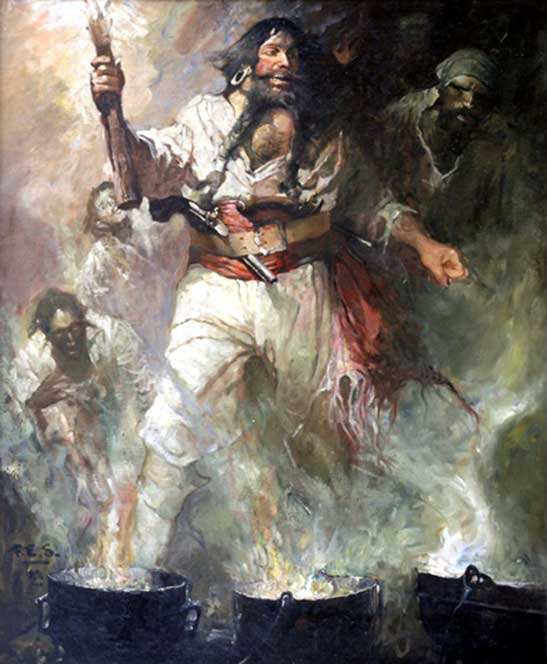Blackbeard in Smoke and Flame Frank E. Schoonover (1877–1972) (Public Domain)