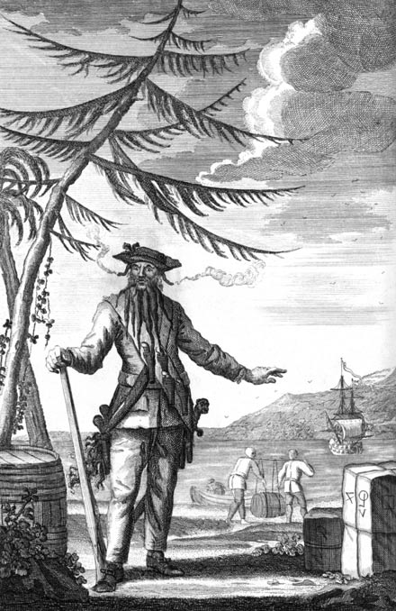 Blackbeard (c. 1736 engraving used to illustrate Johnson's General History).