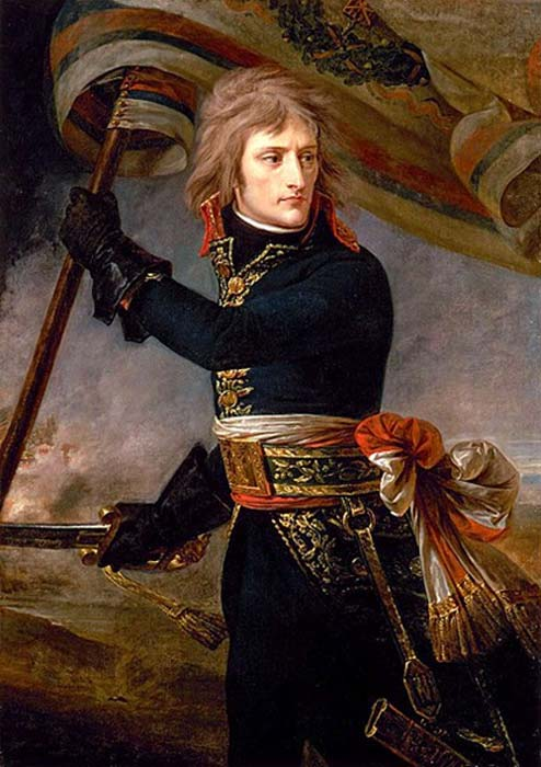 Bonaparte at the Pont d'Arcole, the word 'Chauvin' was used to ridicule veterans who had fought under and still supported Napoleon. (Public Domain)