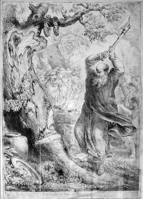 Boniface chops down a cult tree in Hessen, engraving by Bernhard Rode, 1781.